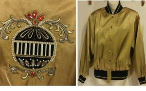 VINTAGE 90S HIP HOP JACKET Womens 40 L Gold Lamé Nylon Shiny Coat Embroidery