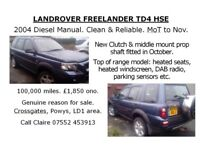 Landrover Freelander TD4 HSE 2004 Diesel Manual MOT November 2018 new clutch & prop shaft mount Oct.