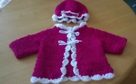 crocheted baby cardy and mop cap first size sale price white /burgundy