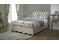 BRAND NEW Chesterfield style Fabric Upholstered Deep Buttoned Double Frame Storage Bed - Only £700