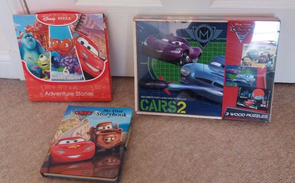 DISNEY Pixar Cars 2 Wooden Jigsaw Puzzles x 3 In Box PLUS Boxed Set of Books & Hardback Book