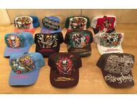 8 brand new Ed Hardy / Christian Audigier Men's baseball caps and 3 once used