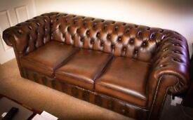 Chesterfield 3 piece sofa set ( Antique Brown )