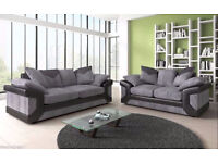 NEW DINO JUMBO CORD BLK/GREY 3+2 OR CORNER SOFA | 1 YEAR WARRANTY | EXPRESS DELIVERY ALL UK