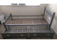 Metal single bed *with great storage*