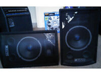 SKYTEC PASSIVE 150w Coffin shaped monitor/pa speakers (PAIR)