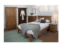 Rustic Pine Wood Cotswold Double Bed frame with mattress