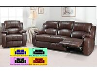 !!BEST BARGAIN!! LUXURIOUS RECLINER BONDED LEATHER SOFA 3+2 COLOR BLACK AND BROWN WAS £899 NOW £599