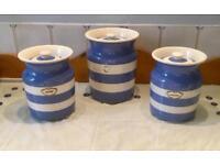 T G Green CornishWare large storage Jars blue and white striped