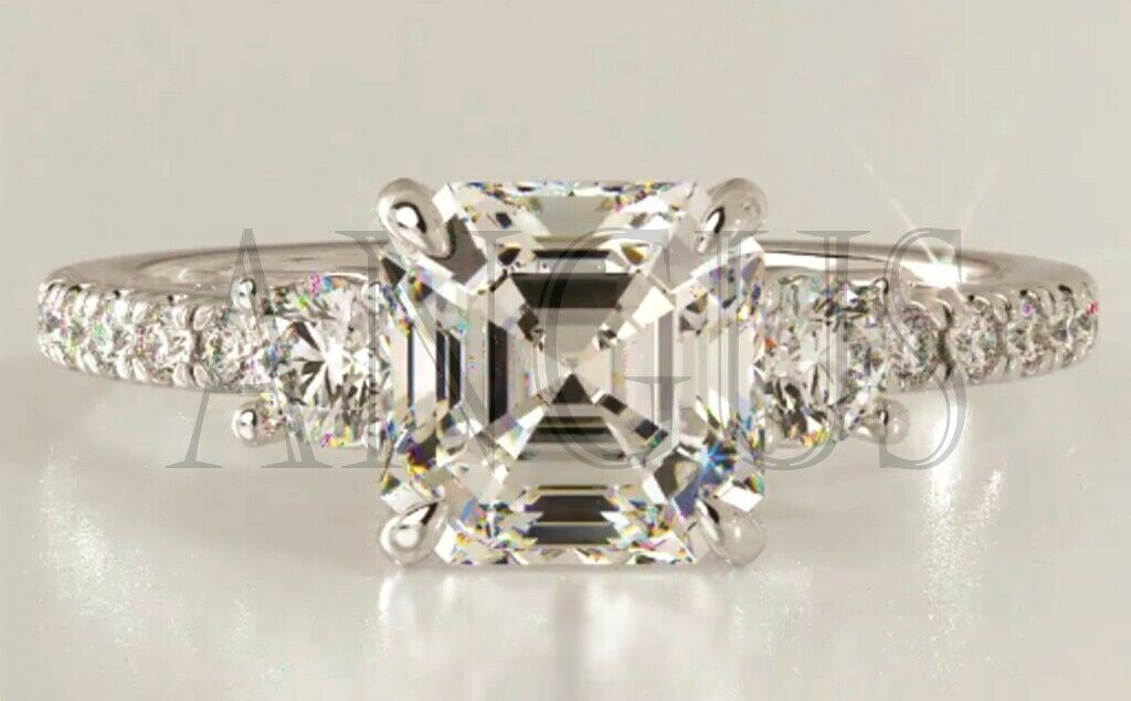 2.66 ct Asscher cut Anniversary Diamond Engagement Ring Soli
