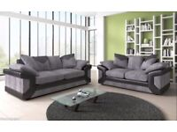 BRAND NEW DINO SOFAS 3+2 SEATER JUMBO CORD AND LEATHER GREY BLACK & BEIGE BROWN