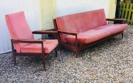 Mid century Guy Rogers vintage sofa setee day bed chairs modernist retro