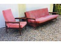 Mid century Guy Rogers vintage sofa setee day bed chairs modernist retro lounge antique room