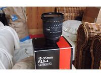 Sigma 17mm to 35mm f 2.8 - f4 wide angle zoom lens. Nikon fit.