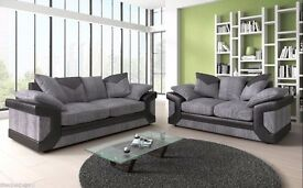 NEW STOCK AVAILABLE == DINO 3 AND 2 SEATER SOFA IN BLACK AND GREY COLOR = ITALIAN FABRIC