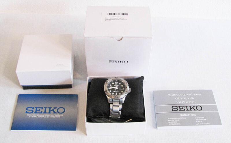 SEIKO SNE107 Solar Powered Eco Diver's Watch Black Dial