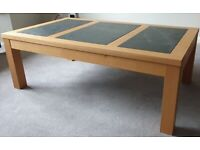 Solid Oak and Solid Slate Coffee Table Good Condition