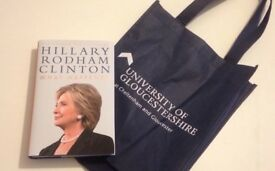 Hillary Clinton at Cheltenham Literature Festival 2017, the book 'What Happened' with sponsors bag