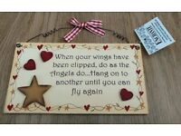 NEW WITH TAGS WOODEN WALL SIGN/PLAQUE