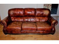 Brown Leather Sofa - free to good home