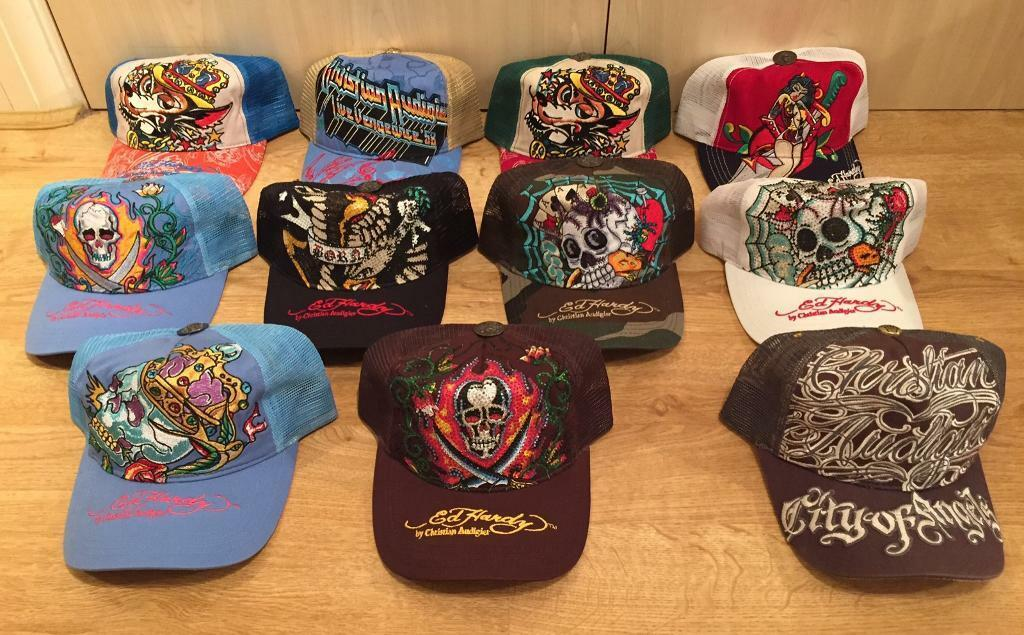 bdbf1b8e7de52 8 brand new Ed Hardy   Christian Audigier Men s baseball caps and 3 once  used caps. All authentic