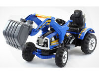 Kids Ride On Electric 12v Tractor with Tipping Bucket Digger - Blue