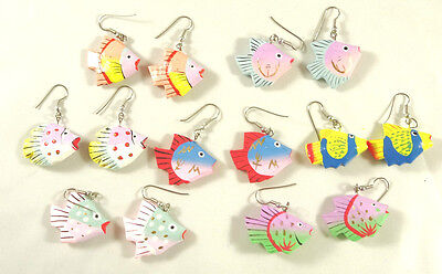 Adorable New Hand Painted Wood Tropical Fish Earrings in Assorted Styles #E1238