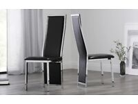 Black Leather Dining Chairs x6