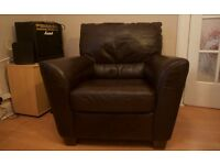 Free dark-brown leather armchair