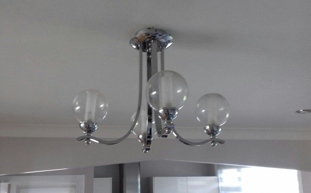 Lovely Ceiling Light With 4 Round Glass Shades