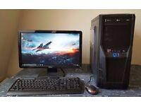 "Gaming PC. AMD FX4130 Quad Core, 8GB RAM, 1TB HDD, Nvidia GTX460, 20"" Monitor, Water Cooler, Win 10"