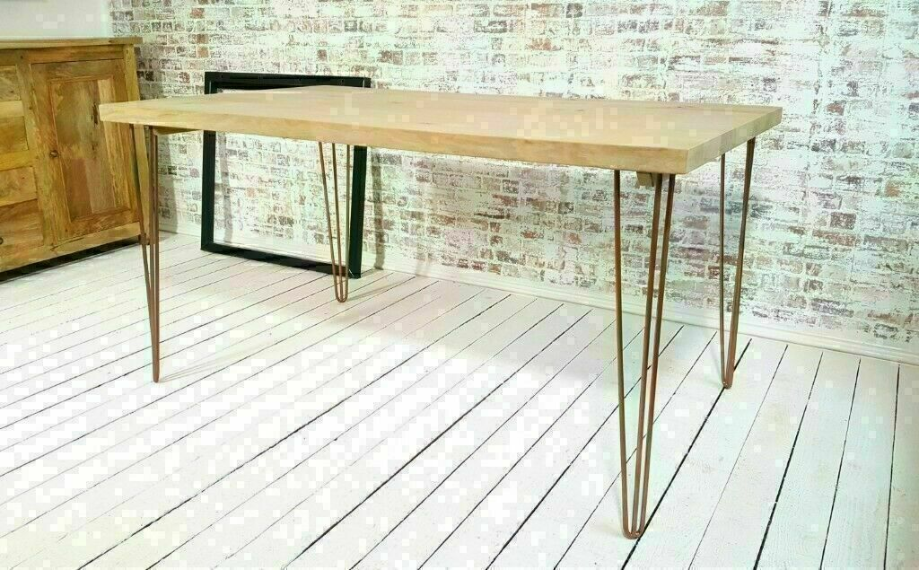"""Garden Bench Seat Chair 12/"""" Deep Hairpin Legs Solid Chunky Rustic Pine 2/"""" Top."""