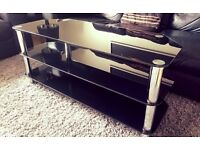 TV Stand - Black glass & chrome - suitable for TV up to 55""