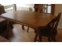 Solid Wood Extendable Dining table with two solid wood chairs