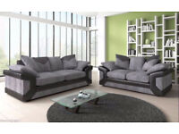 DINO JUMBO CORD BLK/GREY 3+2 OR CORNER SOFA WITH FOOTSTOOL | SWIVEL CHAIR | EXPRESS DELIVERY UK