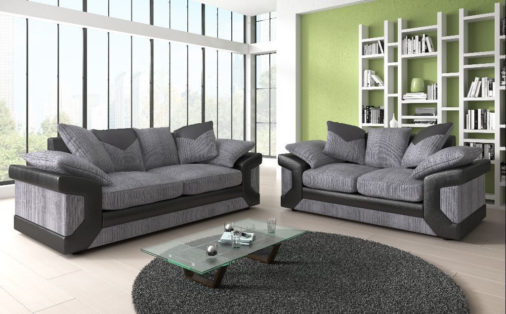 Brand New Fabric Amp Leather 3 2 Seater Sofa In Black Grey