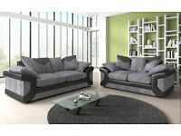 BRAND NEW FABRIC & LEATHER 3+2 SEATER SOFA IN BLACK/GREY OR BROWN/BEIGE (FREE DELIVERY)