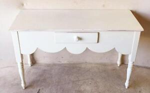 Lovely Lexington White Antique Desk Or Console With Single Drawer And Scalloped Skirt
