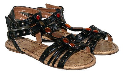 LADIES OPEN TOE ANKLE BUCKLE STRAPPED SUMMER/BEACH/CASUAL SANDALS BLACK SIZE 4 Buckle Open Toe Sandal
