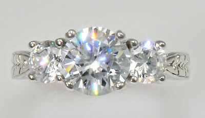 2ct Three Stone Ring Vintage Russian Cubic Zirconia Imitation Moissanite Size 10