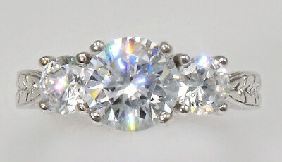 2ct Three Stone Ring Vintage Russian Cubic Zirconia Imitation Moissanite Size 7