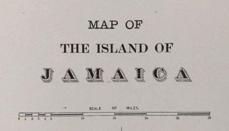 """Vintage 1900 JAMAICA Map 14""""x11"""" Old Antique Original KINGSTON PORT ROYAL"""