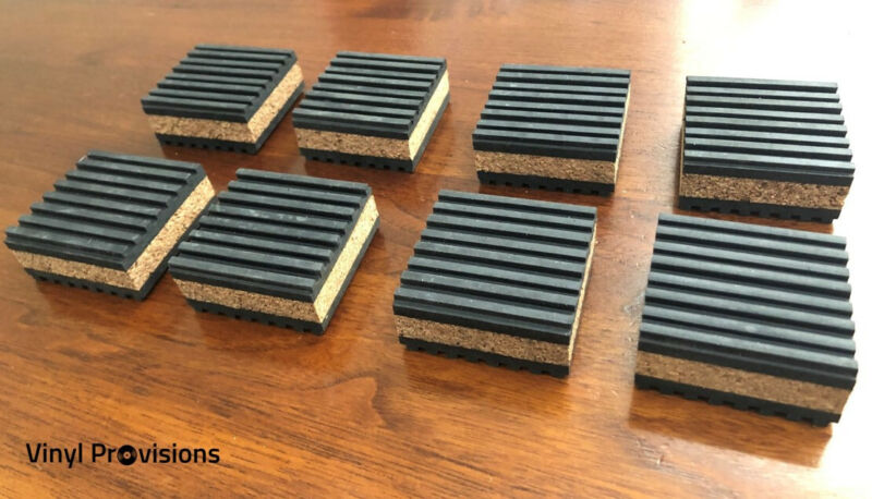 "8-Pack Anti Vibration Pads 2"" x 2"" x 7/8"" Cork Audio & Turntable Isolation Feet"