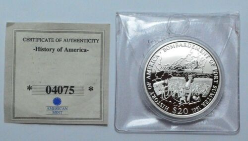 2001 Bombardment of Fort Sumter $20 LIBERIA .999 SILVER COIN AMERICAN MINT w/CoA