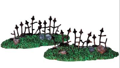NEW~LEMAX~SPOOKY TOWN COLLECTION~SET OF 2 RUSTY OLD FENCE~CEMETERY~HALLOWEEN (Old Town Halloween)