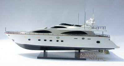 "Azimut Jumbo 100 34"" Handcrafted Wooden Display Model Yacht"