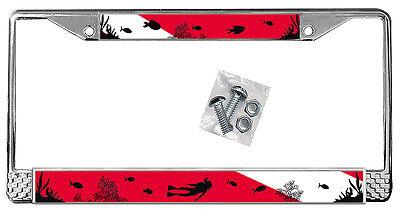 Scuba Flag License Plate Frame Gifts Polished Metal Female Lady Diver Diving TXT (Diving License Plate Frame)