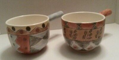 "COFFEE SHOPPE Open Onion Soup 4 7/8"" Sue Zipkin Rare Discontinued Bowls Set of 2"