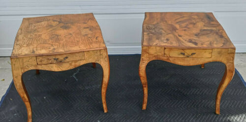 Pair Of Antique Italian Oyster Burl Wood Cabriole Leg End Tables