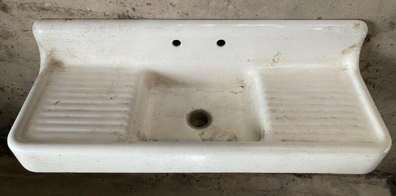 Vintage Farmhouse Farm Sink Porcelain Cast Iron Sanitary Mfg 60x22 P6710 1930
